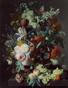 Jan van Huysum  (Dutch, 1682 - 1749.)  Still Life with Flowers and Fruit, oil on panel,  c. 1715.   78.7 x 61.3 cm (31 x 24 1/8 in.)  Nice discussion at website.  National Gallery of Art, Washington, DC.