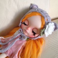 Handmade Blythe Doll Crochet Hat With Flower, Games & Toys on Carousell