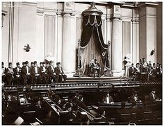 H.M. King Farouk I of Egypt In Parliament Listening to Moustafa El-Nahhas Pasha's Speech In 1937