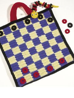 """Two-in-One Games: Road trips will be twice the fun with this cute-as-a-bug game tote that features checkers on one side and tic-tac-toe on the other. It's easy to carry along, and all the pieces store inside! Game size: 14"""" (appx)   Skill level: Easy Designed by Rosanne Kropp free pdf from FreePatterns.com"""