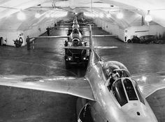 "Royal Swedish Air Force - SAAB J29 ""Tunnan"" in an underground airbase."