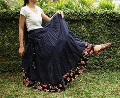 boho fashion for women over 40   NO.25 Indigo Blue Cotton, Hippie Gypsy Boho Tiered Long Peasant Skirt