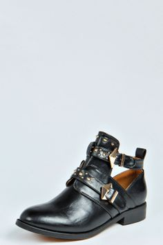 Ronalie Double Buckle Cut Out Stud Trim Boot at boohoo.com