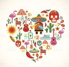 Mexico love - heart with set of vector icons royalty-free stock vector art