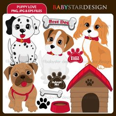 11 graphic elements of little puppy theme. Perfect for valentine's cards, party invitations, craft projects, paper products, stationery, scrapbooking, web designs, stickers and many more!