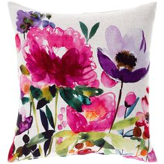 Bluebellgray Anemone Linen Cushion (€98) ❤ liked on Polyvore featuring home, home decor, throw pillows, pillows, flowers, multi, flower throw pillow, handmade home decor, square throw pillows and flower stem