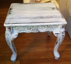 Ornately carved shabby chic coffee table 22x 20 by Rustocity, $65.00