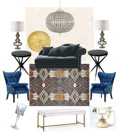 Great Gatsby inspired living room