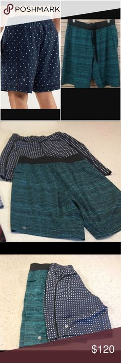 """Lot of 2 Lululemon men's shorts size small Lot of 2 men's lululemon shorts. 1 Lululemon Pacer Breaker Run shorts Sun Spot Inkwell 1 Lululemon - T.H.E. Short 9"""" Linerless - WWGD Wire Weave Green Defender. Mint condition wore a couple times. Free Lululemon shopping bag with purchase. lululemon athletica Shorts Athletic"""
