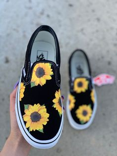 Sunflower Shoes, Summer Shoes, Custom Vans, Shoes, Vans, Custom Shoes, Custom Sneakers, Slip On Vans