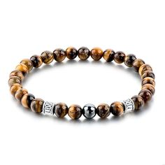 Vintage Tiger Eye Natural Stone Beads Bracelet With Silver Accessories