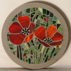 Poppy mosaic stepping stone