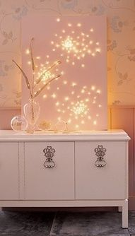 Lighted Canvas - You can get Canvas from any art supply store (Exp: Hobby Lobby). Then paint it however you would like. Mark your design layout on the back of Canvas and gently press an awl through the canvas to make a hole just big enough for the light bulb.  Take Christmas Lights and press a bulb into each hole and secure with craft clue