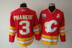 NHL Jerseys Calgary Flames Dion Phaneuf #3 Red Yellow