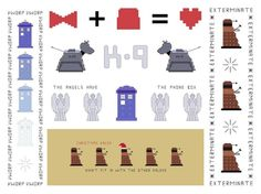 3 Doctor Who Bookmark Patterns - Your Choice. $7.25, via Etsy.