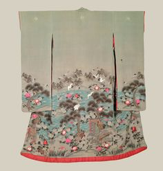 A chirimen silk antique furisode featuring very finely rendered crane, pine, tortoise, flower, kicho motifs executed with yuzen-dyeing, sumi e, simple and sagara embroidery, couching and 3D metallic embroidery.  Edo Period (1800-1850).  The Kimono Gallery