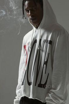 ASAP Rocky wearing  V Lone Logo Hoodie