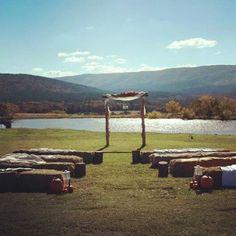 Fall wedding, sitting on bales of hay. Brilliant.