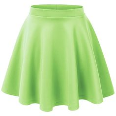 Lock and Love Womens Basic Versatile Stretchy Flared Skater Skirt (13,335 KRW) ❤ liked on Polyvore featuring skirts, bottoms, green skater skirt, green skirt, flare skirt, flared hem skirt and skater skirt