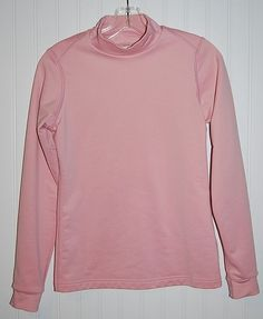 Nike Fit Women's Medium Pink Long Sleeve Fit Dry Shirt Fleece Lined 8-10 Stretch #Nike #ShirtsTops