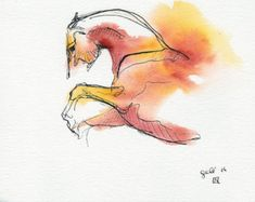 Equine Nude 80 - Ballpoint Pen and watercolor Horse Painting