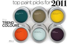 """top paint colors in 2011. They're still good colors. I love """"Fireball"""" on the bottom, left."""