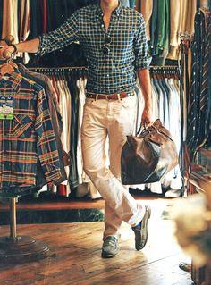 Beige y verde Men's #style