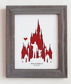 Disney World. 8x10 Personalized Gift or Wedding by Cropacature