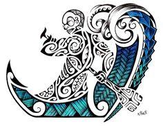 Maori Tattoo Design in Colour of a Polynesian Tiki rowing into Maori Waves by Ta'a Tiki Tattoo Marseilles