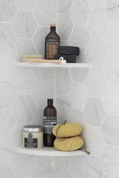 Modern Gray - Shower Organization - Hexagon Tile - Bathroom Ideas - Kitchen Design —I like the tiles shape, but I also like the corner shelves Upstairs Bathrooms, Laundry In Bathroom, Bathroom Renos, Bathroom Ideas, Bathroom Grey, Tiny Bathrooms, Bathroom Modern, Kitchen Modern, Bathroom Wall