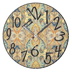 1027 Brocade Damask Earth Tone Colors Print Large Clock - decor gifts diy home & living cyo giftidea