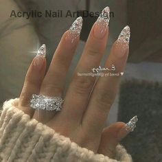 stiletto nails Almond Nails Designs Rate this post Almond shaped acrylics nails are a popular look and are often preferred by modern women. Unlike dangerous and sharp stiletto nails, almond nails are more wearable, which allows for more nails strength t Shiny Nails, Aycrlic Nails, Swag Nails, Coffin Nails, Manicure, Sparkle Nails, Prom Nails, Silver Glitter Nails, Acrylic Nails Glitter