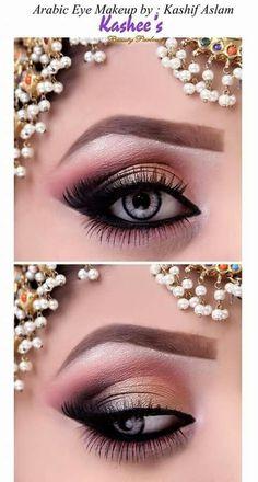 Arabische Augen Make-up von Kashif Aslam von Kashees Schönheitssalon Soft Eye Makeup, Eye Makeup Steps, Bridal Makeup Looks, Beautiful Eye Makeup, Gold Makeup, Blue Eye Makeup, Bridal Hair And Makeup, Blush Makeup, Smokey Eye Makeup