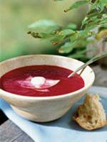 Vibrant both in color and in flavor, Beet and Apple Soup works well for lunch or as a suppertime starter.