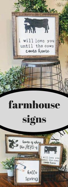 "Etsy || ""I will love you until the cows come home"" Cow sign | Wooden sign | Farm decor | Cow decor | I love you sign | Home decor | Framed sign | Farmhouse decor #etsy #farmhouseinteriordesignideas #ad #farmhousestyle #homedecor #rusticdecor #cows"