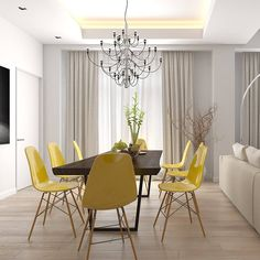 Modern dining room | ecletic decor with modern yellow chairs and classic chandelier |www.bocadolobo.com #diningroomdecorideas #moderndiningrooms