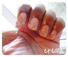 Nude and glitter manicure