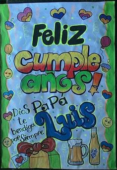 Carteles Blog 🍬  #Carteles de Cumpleaños #Carteles Creativos #Carteles Vintage 🍬 Creative Gifts, Smurfs, Blog, Desks, Events, Happy Fathers Day, Anniversary Banner, Birthday Display, Love Posters