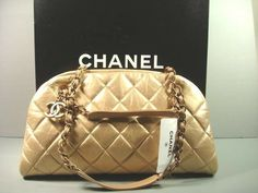 "Chanel Dark Gold Quilted Leather ""CC"" Handbag Purse Shoulder Bowling Bag NEW #CHANEL #ShoulderBag"