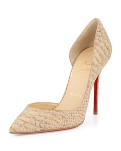 Iriza Half-d\'Orsay Red Sole Pump, Cork by Christian Louboutin at Neiman Marcus.