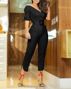 Solid Puff Sleeve Slinky Jumpsuit Source by drabarrientosr fashion classy Trend Fashion, Look Fashion, Fashion Outfits, Estilo Fashion, Fall Fashion, Fashion Ideas, Online Shopping Clothes, Wholesale Clothing, Pattern Fashion