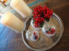 Usva: Talvinen kynttiläasetelma viinilaseista Panna Cotta, Ethnic Recipes, Blog, Healthy, Dulce De Leche