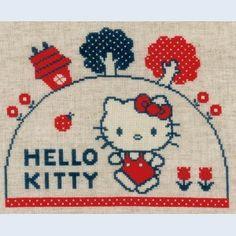 Hello Kitty borduurpakket: kruissteek met telpatroon