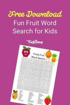 Our fruit word search is designed to make fruit fun and break down any fears and dislikes for kids who are less than enthusiastic about their Free Fruit, Lunchbox Ideas, Best Fruits, Kids And Parenting, Cool Words, Word Search, Activities For Kids, Things To Do, Lunch Box