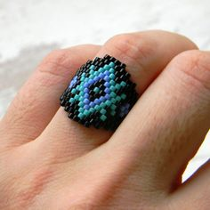 Beaded ring, peyote ring, seed bead jewelry, hippie ring, beadwork ring, band ring, wide ring, ethnic jewelry, gift for her, unusual ring