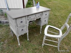 Crafty in Canada: Antique Vanity redone to Desk