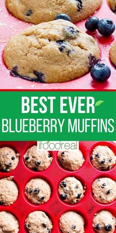 Healthy Blueberry Muffins with applesauce, whole wheat flour, no sugar, and fresh or frozen blueberries. Super easy kid approved recipe with fantastic reviews! Healthy Blueberry Muffins, Healthy Muffin Recipes, Healthy Brunch, Waffle Recipes, Blue Berry Muffins, Healthy Baking, Baking Recipes, Healthy Snacks, Frozen Blueberries