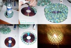 Reuse your old CDs to a beautiful candle holders