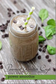Peanut Butter Cup Power Smoothie (banana, spinach, peanut butter, chocolate and flax seed).