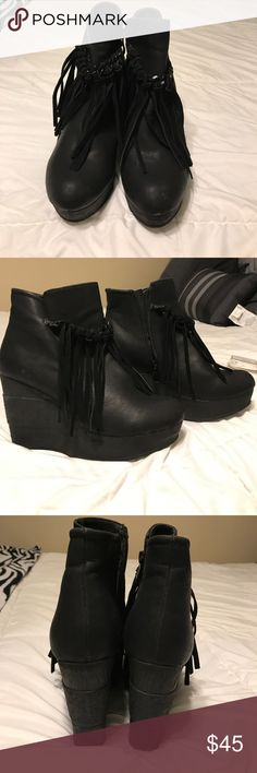 Sbiccca black fringed booties These black booties are super cute. Can be dressed up or down. Wedged heel is 4 inches tall. Very comfy and are in excellent condition!!! Perfect for fall and winter!! Sbicca Shoes Ankle Boots & Booties